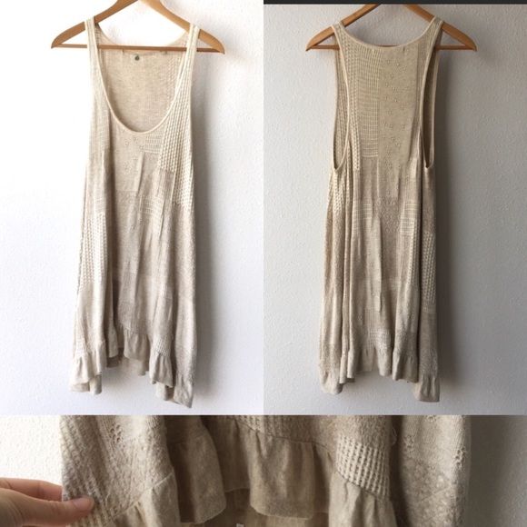 Anthropologie Dresses & Skirts - Anthropologie Knitted Knotted Beige Knit Tunic